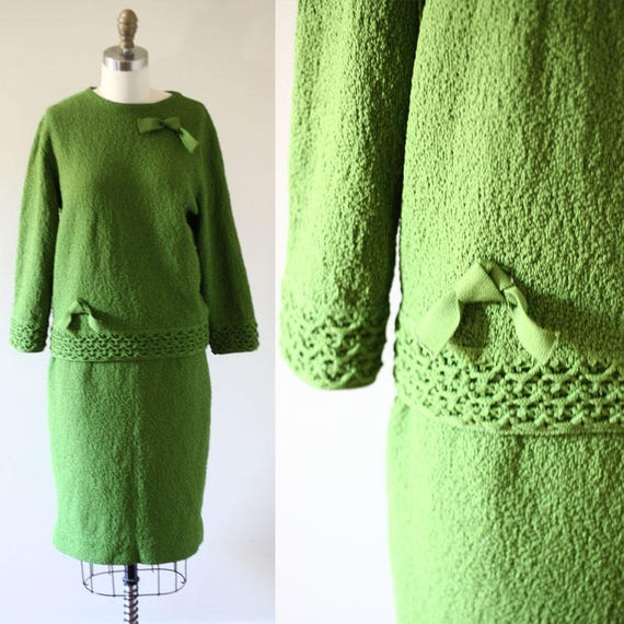 1960s sweater skirt set // 1960s knit dress // vintage sweater dress