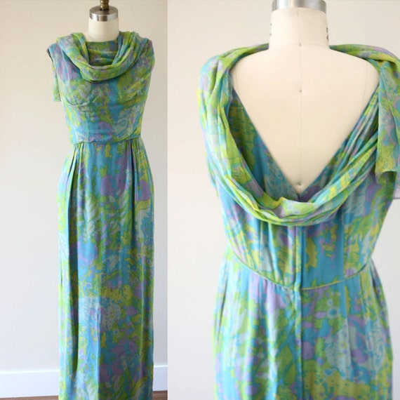 1960s painted chiffon dress //  1960s grecian garden dress // vintage dress