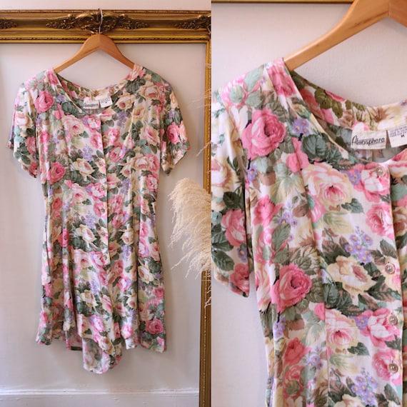 1980s floral romper // 1980s pink floral romper // 1980s floral romper