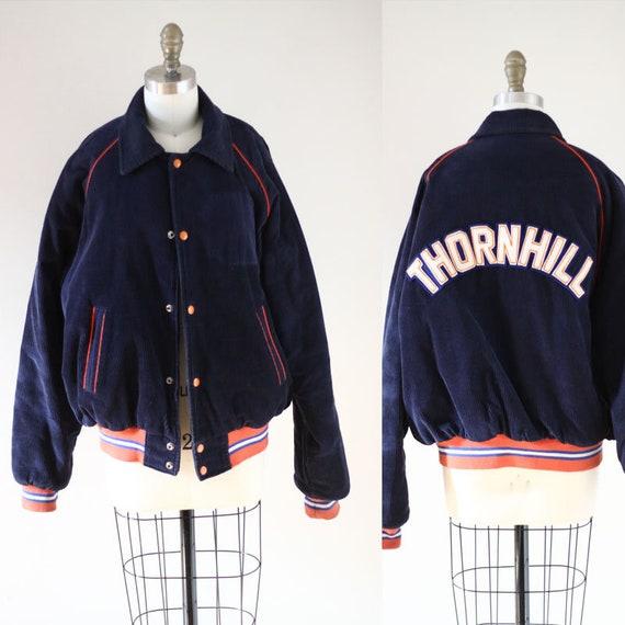 1970s corduroy bomber jacket //1970s felt patch jacket  // vintage bomber jacket