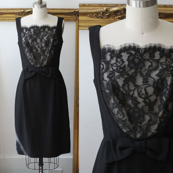 1960s black lace sheath dress //  1960s black lace dress // vintage party dress