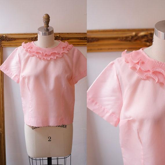 1960s pink sheer ruffle top // 1960s ruffle top // vintage pink top