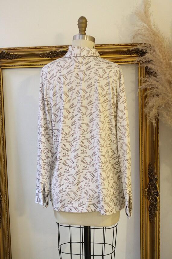 1970s novelty print blouse // 1970s city name blo… - image 6