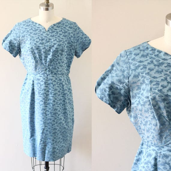 1960s blue wiggle dress // blue army print dress // vintage dress