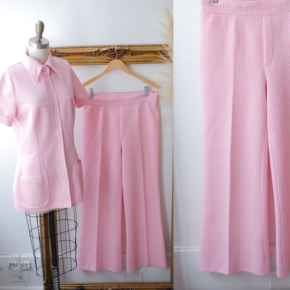 1970s pink checkered two piece set // 1970s pink s