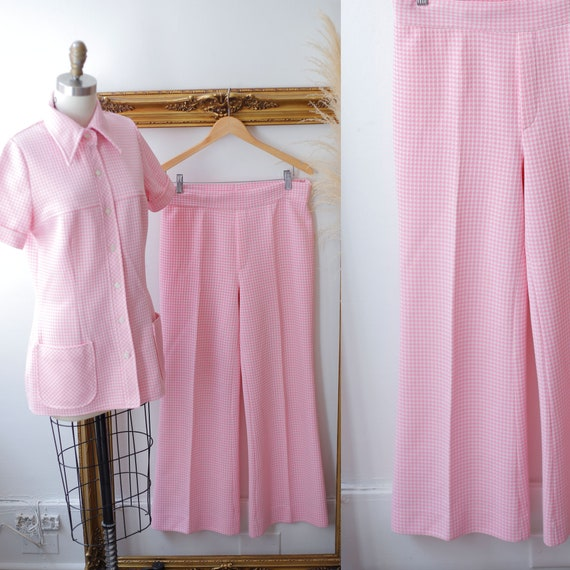 1970s pink checkered two piece set // 1970s pink suit set // 1970s two piece set