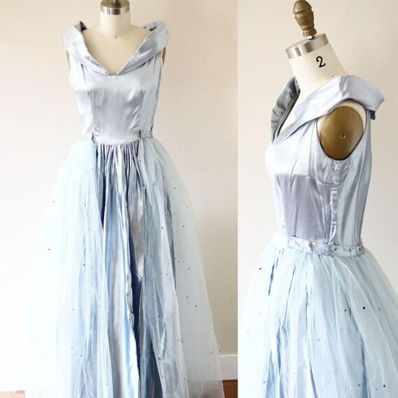 1950s Blue Cinderella Dress // 1950s blue satin gown // vintage formal dress