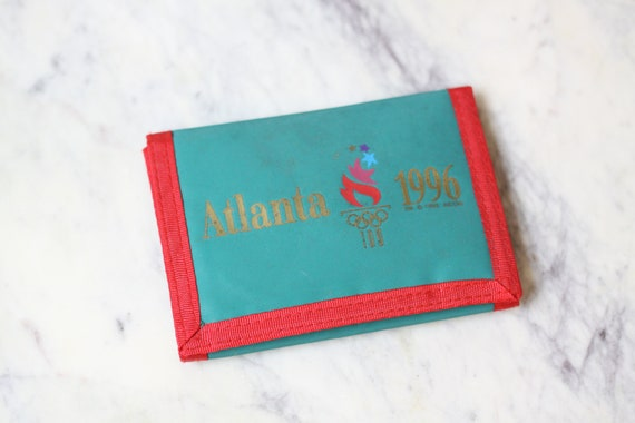 1990s Atlanta Olympic wallet // 1990s green Atlanta wallet // vintage Olympic wallet