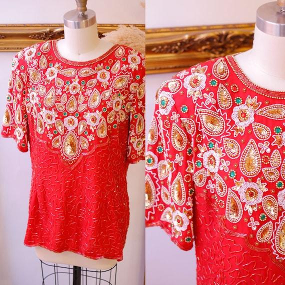 1980s red sequin top // 1980s red beaded shirt // vintage sequin top