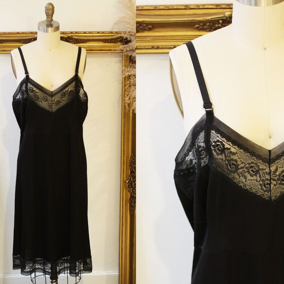 1960s sheer black lace slip //  1960s baby lace slip // vintage lingerie