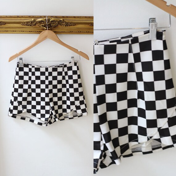 1960s checkered hot pants //1960s shorts // 1960s racing shorts