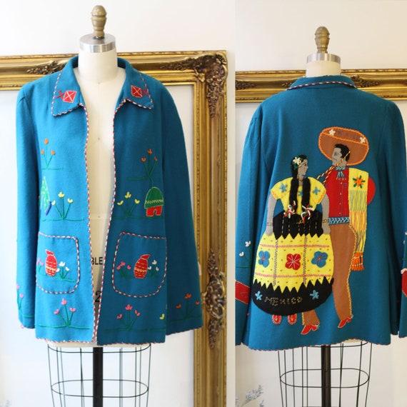 1950s Mexican Tourist Jacket // blue felt jacket // vintage jackets