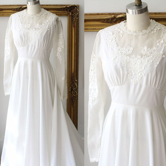 1960s sheer sleeve wedding dress // 1960s lace wedding dress // vintage bridal dress