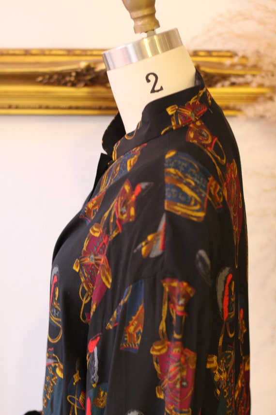 1980s novelty print blouse // 1980s solider print… - image 4