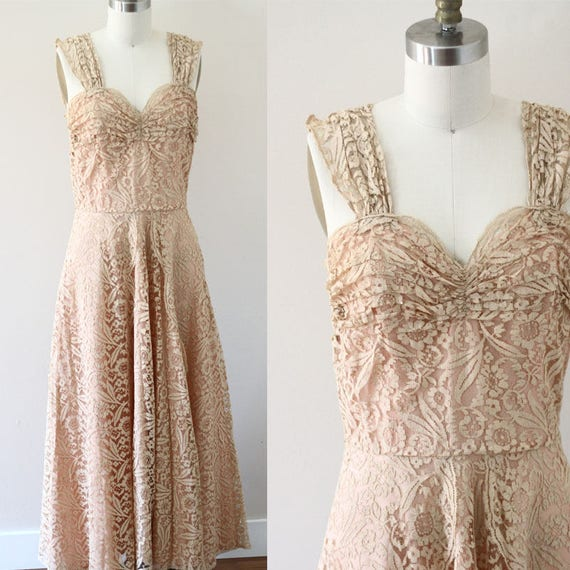 1950s dusty rose lace dress // soft pink lace dress  // vintage dress
