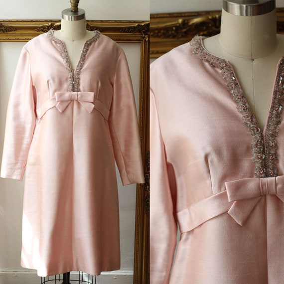 1960s pink silk dress // 1960s beaded party dress// vintage cocktail dress