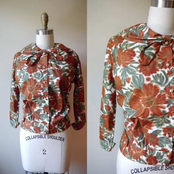1950s Autumn Floral Blouse // Lady Selkirk // vintage womens