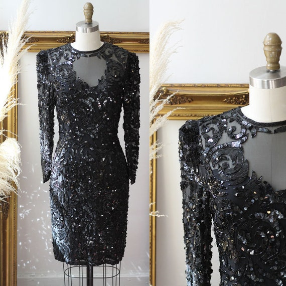1980s Silk Sequin wiggle Dress // 1980s black sequin dress // vintage cocktail dress