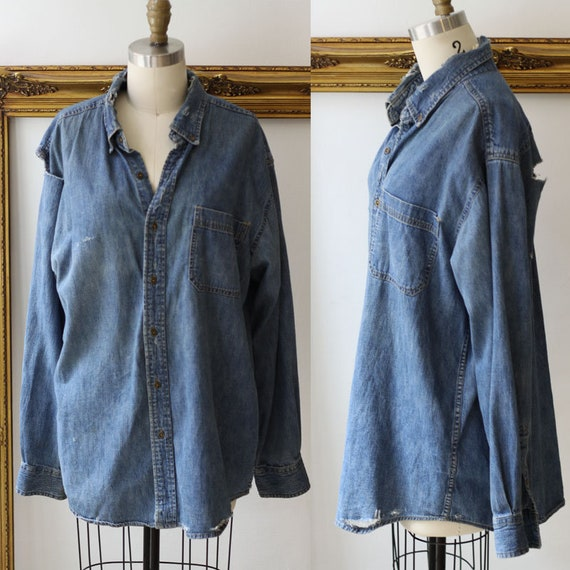 1980s shredded denim blouse // 1980s distressed jean shirt // vintage denim shirt