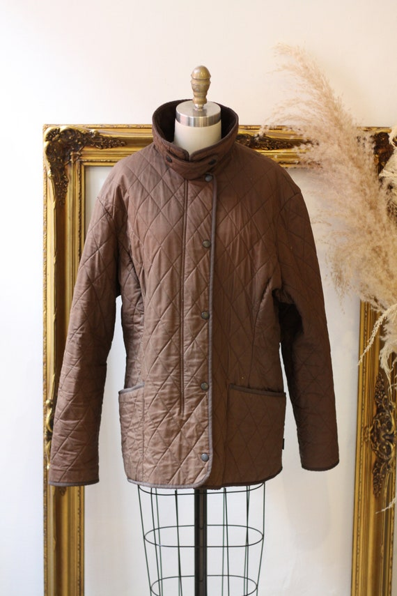 1990s quilted Barbour jacket  //brown quilted jac… - image 2