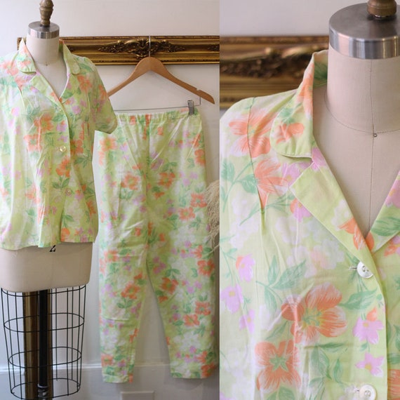 1980s floral lounge two piece set // 1980s floral