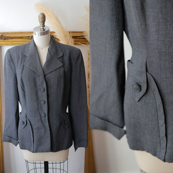 1940s grey blazer // 1940s grey stripe suit jacket // vintage jackets