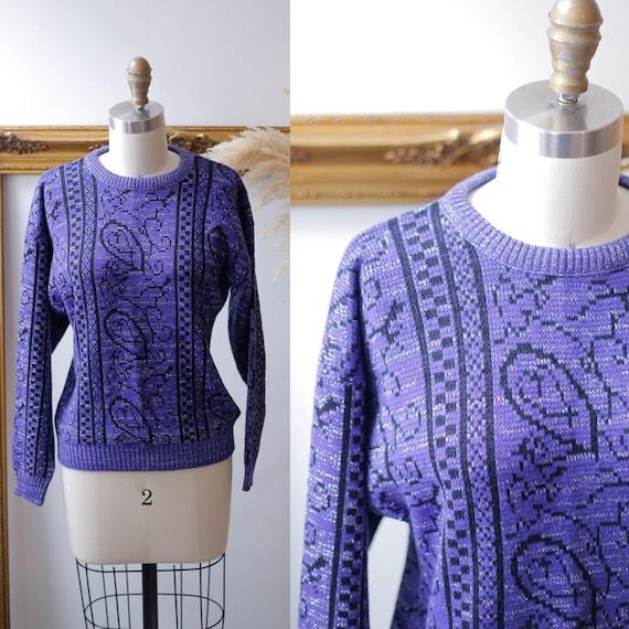 1980s purple silver sparkle sweater // 1980s purple sweater // vintage sweater