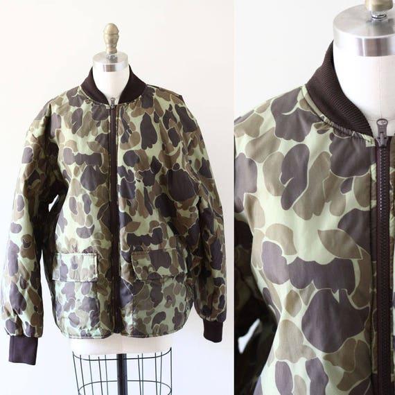 1980s army print bomber jacket //1980s bomber jacket  // vintage bomber jacket