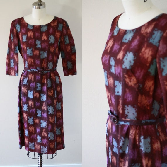 1960s painted square sheath dress // 1960s novelty print dress // vintage day dress
