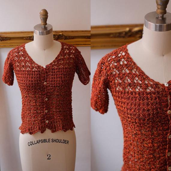 1980s crochet top // 1980s dark orange crochet top  // 1980s sheer sweater