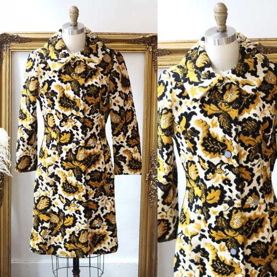 1960s yellow tapestry coat  // 1960s Lilli Ann jacket // vintage Lilli Ann jacket