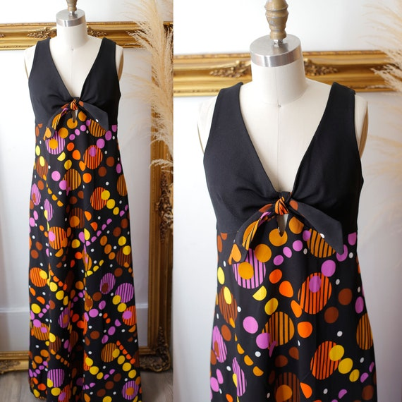 1970s halter maxi dress // 1970s polka dot dress // vintage dress