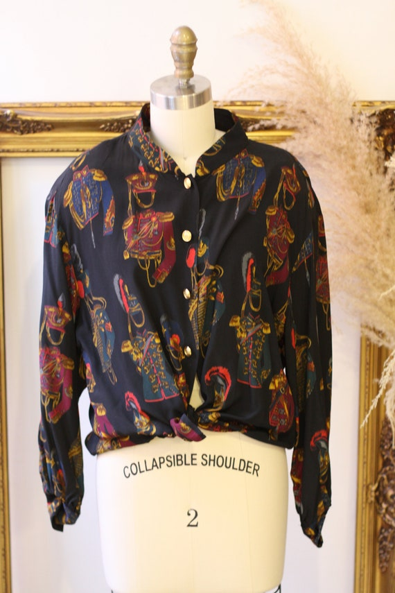 1980s novelty print blouse // 1980s solider print… - image 2
