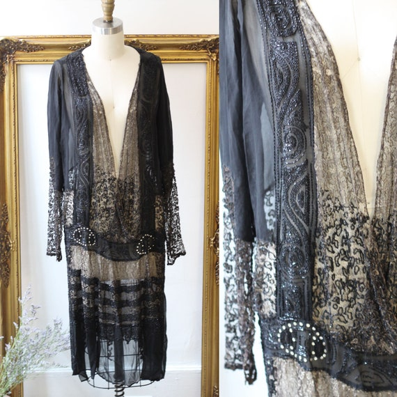 1920s black lace and heavily beaded silk dress // 1920s flapper dress  // vintage dress