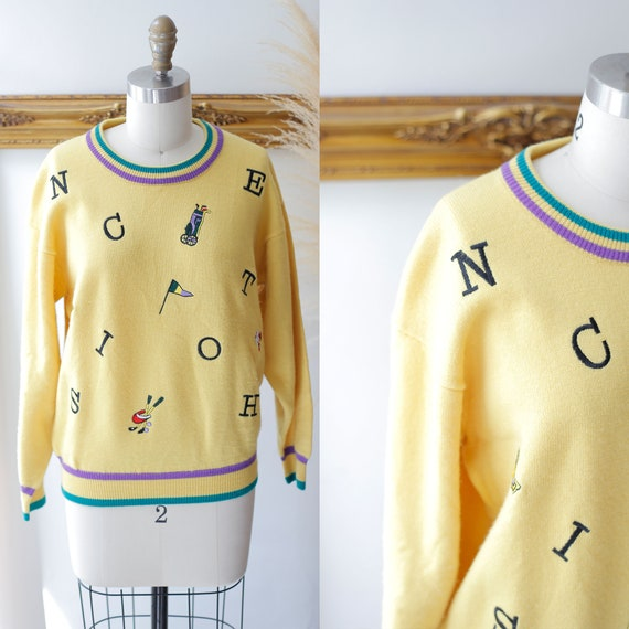 1980s yellow golf sweater // 1980s novelty sweater // vintage golf sweater