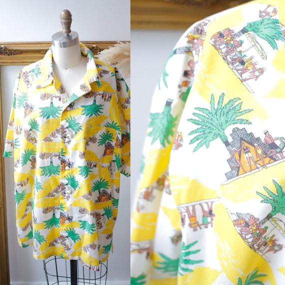1980s novelty print blouse // 1980s summer blouse // vintage novelty top