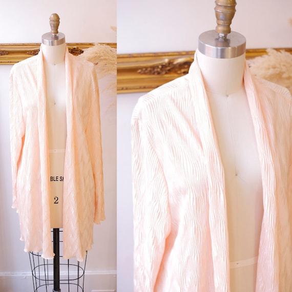1980s peach textured blazer // 1980s peach textured robe // vintage peach jacket