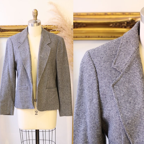 1970s Pendleton blazer // 1970s grey checkered blazer // vintage blazer