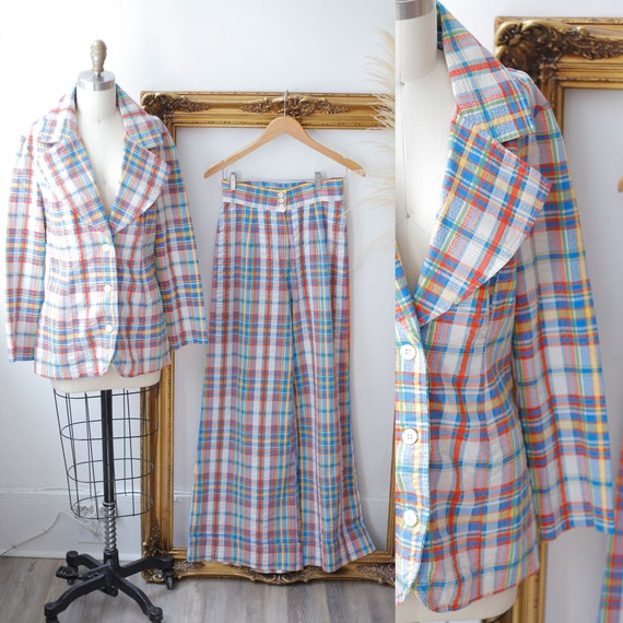 1960s plaid two piece set // 1970s plaid lounge se