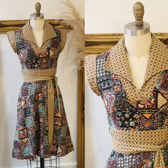 1970s batik print summer dress // vintage cotton wrap dress  // vintage dress