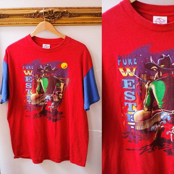 1990s red vintage t-shirt // 1990s Wrangler tshirt // vintage t-shirt