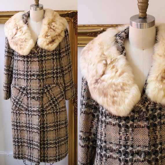 1960s plaid wool tweed coat  // 1960s brown jacket // vintage wool jacket