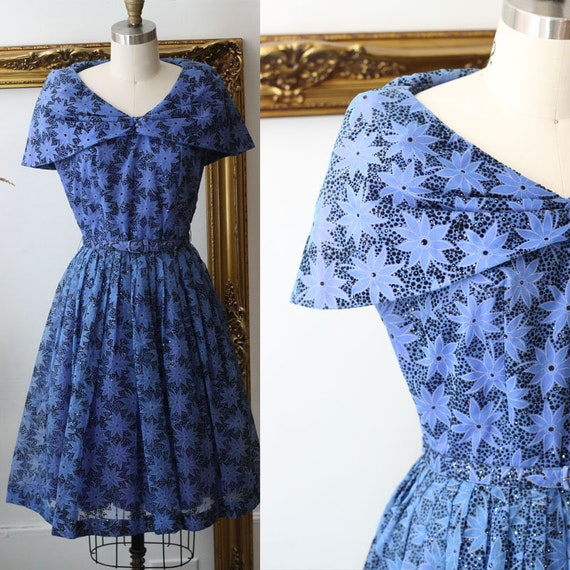 1950s blue star print dress // 1950s organza cocktail dress // vintage dress