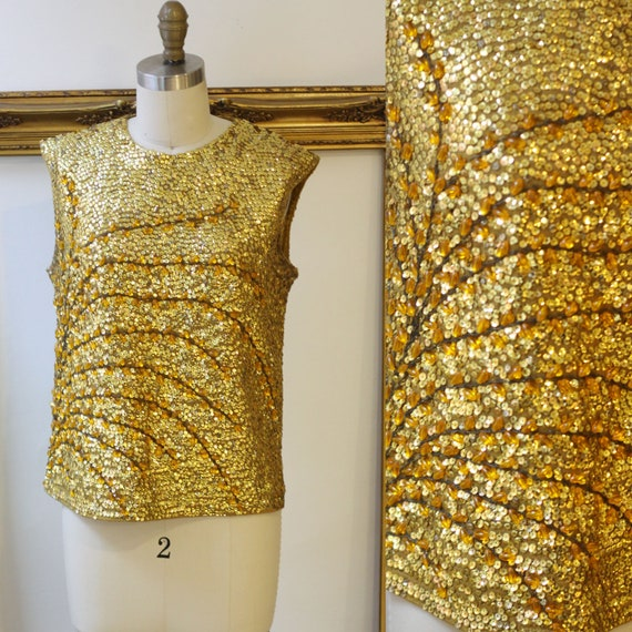 1960s gold knit tank top // gold sequin tank top // 1960s tank top