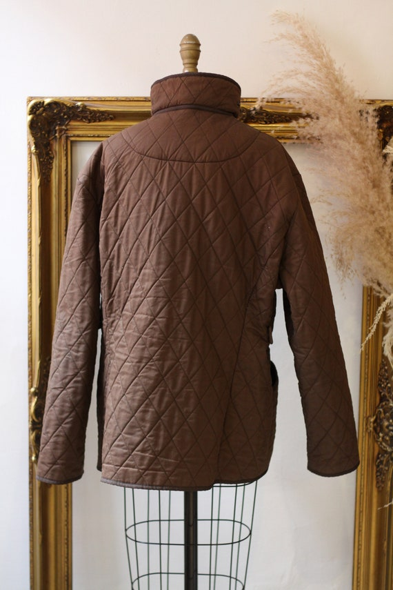 1990s quilted Barbour jacket  //brown quilted jac… - image 9