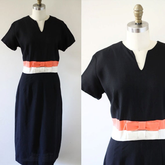 1960s black linen sheath dress //  1960s striped dress // vintage casual dress