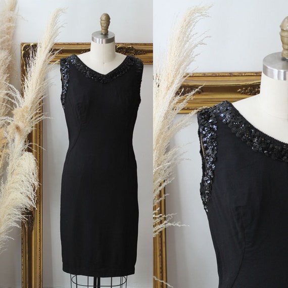 1960s black bead edge dress // 1960s black sparkly