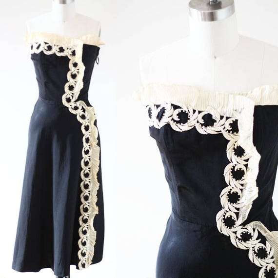 1950s strapless black swing dress // 1950s black lace trim dress // vintage party dress