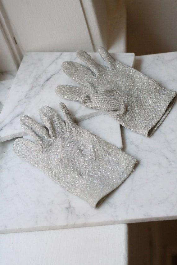 1960s silver sparkle gloves // sparkly cocktail gloves // vintage gloves