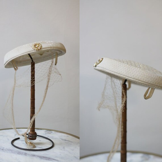 1950s white silver veiled hat // 1950s wedding hat // vintage hat
